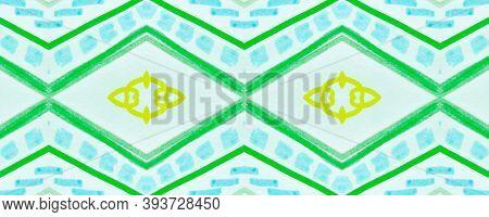 Seamless Tribal Ornament. Green American Ethnic Pattern. Brush Paint Shibori Motif. Geometric Bohemi