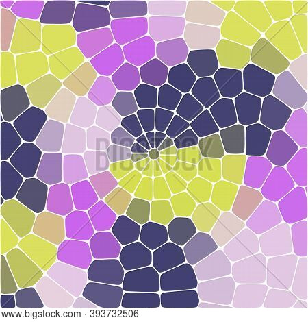 Mosaic Color, Yellow, Lilac, Blue, Oval Stones, Light Background.