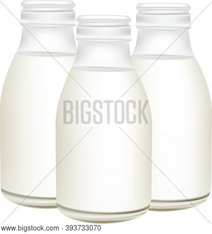 Open Glass Bottle Containing Pasteurized Milk Open Glass Bottle Containing Pasteurized Milk