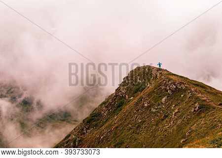 Picturesque And Majestic Mountain Gutyn Tomnatyk, A Mountain In The Clouds, The Mysticism And Myster