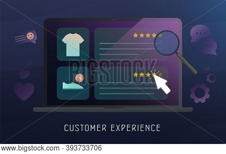 Customer Experience, Feedback Review, Cx Survey Online Marketing Concept. Happy Customer Puts A 5-st