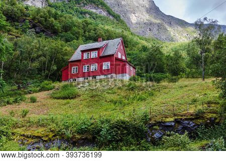 red house in the mountains, Norway