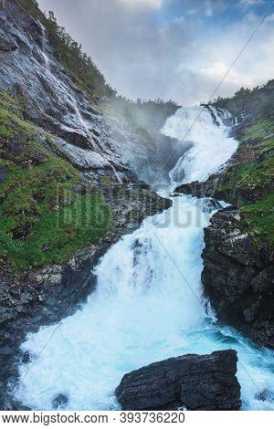 kjosfossen waterfall by the Flam to myrdal flamsbana railway line, Norway
