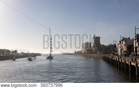 Les Sables D'olonne, France - November 08, 2020: Jean Le Cam Boat (yes We Cam) In The Channel For Th