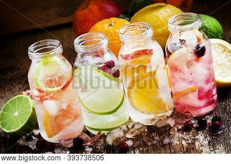 Set Cold Citrus Lemonade: Lemon With Black Currant, Orange, Lime And Cranberry, Grapefruit And Blood