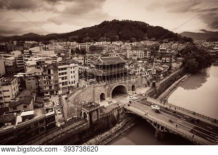 FUJIAN, CHINA – MARCH 2, 2018: Aerial view with historic architecture in Changting city in Fujian, China.