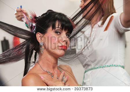 Pouting Lady In Salon