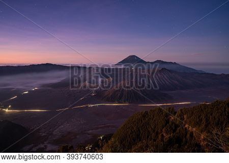 Mount Bromo Volcano Before Sunrise, In East Java, Indonesia