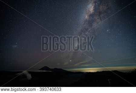 Star And Milky Way Over Bromo Active Volcano In Bromo Tengger Semeru National Park,  East Java, Indo
