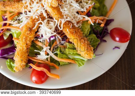 Fresh Salad With Crispy Fried Crab Stick