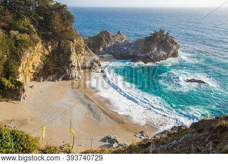 Mcway Falls - Pacific Coast Highway In Big Sur, California, Usa In The Afternoon