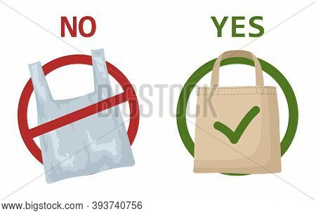 Pollution Problem Concept. Plastic Bag And Eco Bag Isolated On White Background. Say No To Plastic B