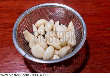 Fresh Peeled Garlic Cloves Ready For Cooking