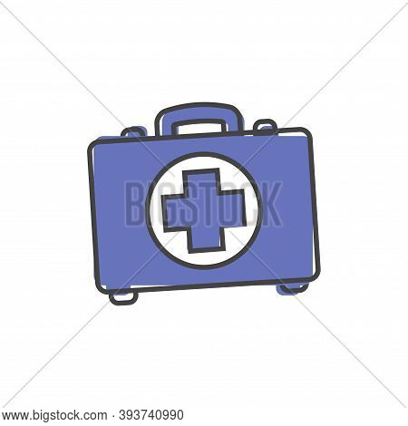 Vector Icon Indicates The Presence Of First-aid. Doctor. First Aid Kit Cartoon Style On White Isolat
