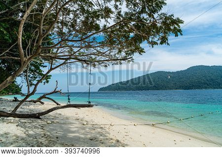 Tranquil White Sand (sai Khao) Beach With In Ra Wi Island, Southern Of Thailand.
