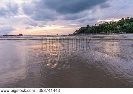 Sunset At Layan Beach, Lagoon In Phuket, Thailand During Low Tide