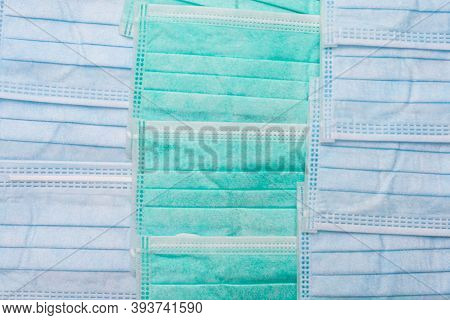 Surgical Face Masks Pattern For Background - Health Concept