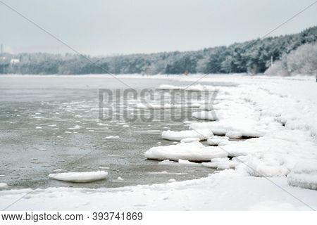 The Winter Promenade Of The Baltic Sea Near Tallinn. Winter Near The Baltic States On The Seashore.b