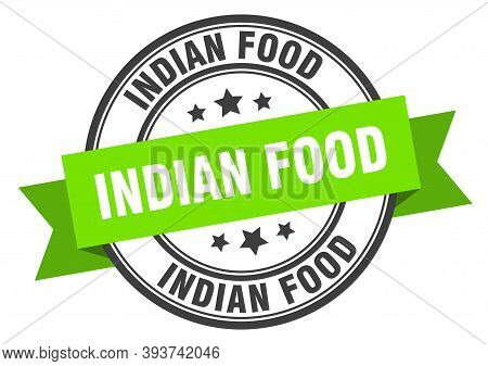 Indian Food Label. Indian Foodround Band Sign. Indian Food Stamp