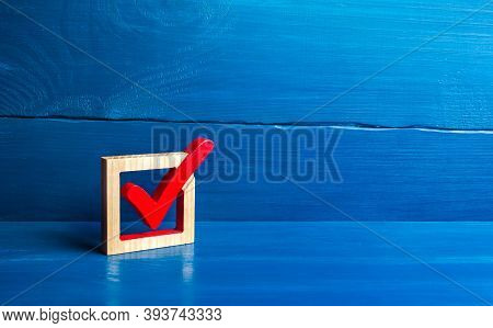Red Voting Tick In A Box. Checkbox. Presidential Or Parliamental Democratic Elections, Referendum. S
