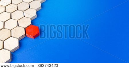 Red Hexagon Connects To Majority Structure Of Others. Start A Chain Reaction. Dissimilarity And Diss