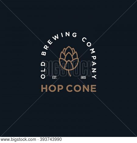 Old Brewing Company Emblem. Hop Cone Logo. Craft Beer Logotype. Hop Cone And Typographic Composition