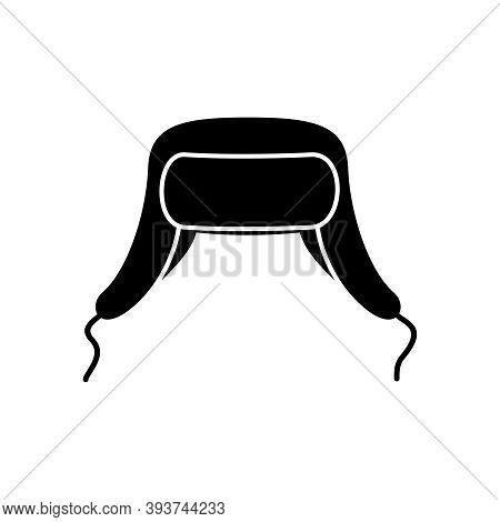 Winter Hat Earflap Black Icon Isolated On White Background. Knitting Headwear With Two Long Ear Flap