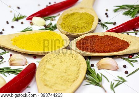 Variety Of Spices And Seasonings (indian Curry, Different Pepper, Paprika Powder, Salt, Dry Ginger A