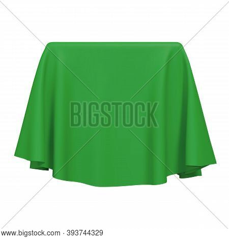 Green Fabric Covering A Blank Template Vector Illustration