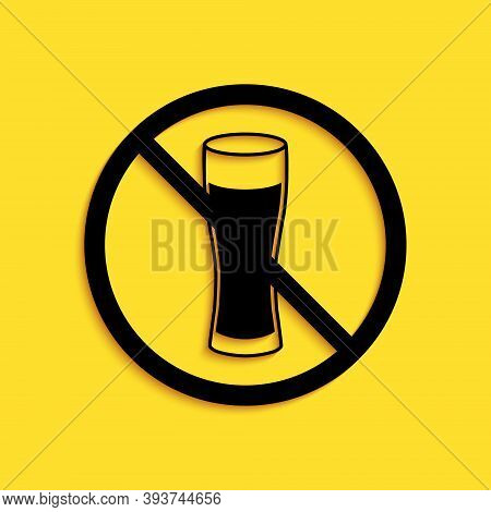 Black No Alcohol Icon Isolated On Yellow Background. Prohibiting Alcohol Beverages. Forbidden Symbol