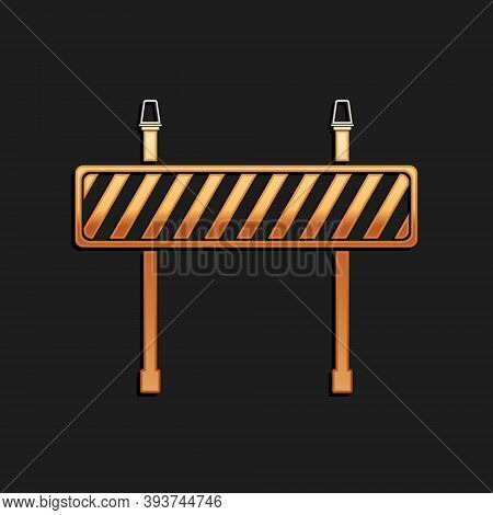 Gold Road Barrier Icon Isolated On Black Background. Fence Of Building Or Repair Works. Hurdle Icon.