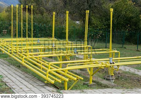 Yellow Gas Pipes. Gas Industry. Natural Gas. Lots Of Gas Pipes.