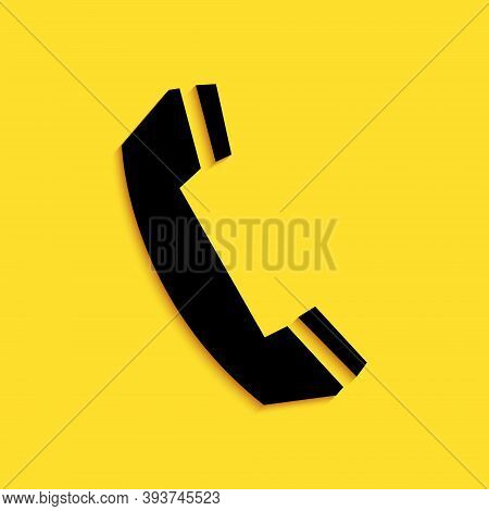 Black Telephone Handset Icon Isolated On Yellow Background. Phone Sign. Call Support Center Symbol.