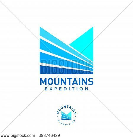 Mountains Expedition Logo. M Monogram. Letter M Like Mountain Fields And Blue Peaks. Logo Can Used F