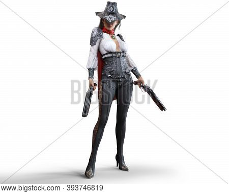 Portrait Of A Mysterious Steampunk Woman Gunslinger Holding Two Shotguns On An Isolated White Backgr