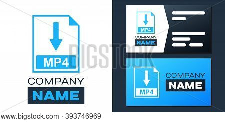 Logotype Mp4 File Document Icon. Download Mp4 Button Icon Isolated On White Background. Logo Design