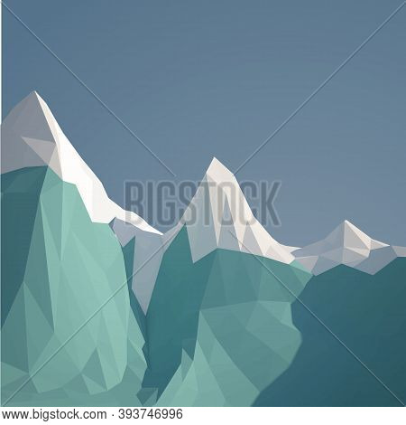 Low Poly Ice Mountain. Vector Design Illustration. Futuristic Polygonal Background. Ocean Background