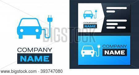 Logotype Electric Car And Electrical Cable Plug Charging Icon Isolated On White Background. Electric