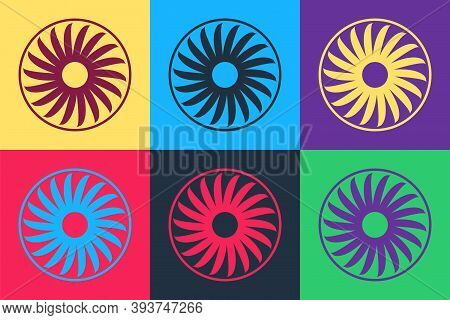 Pop Art Ventilator Symbol Icon Isolated On Color Background. Ventilation Sign. Vector
