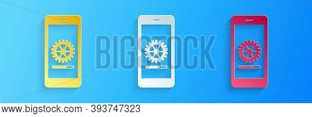 Paper Cut Smartphone Update Process With Gearbox Progress And Loading Bar Icon Isolated On Blue Back