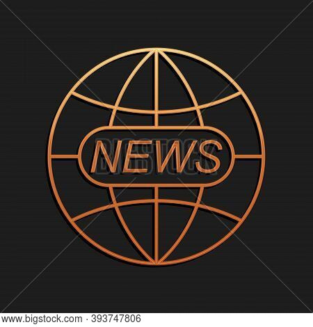 Gold World And Global News Concept Icon Isolated On Black Background. World Globe Symbol. News Sign