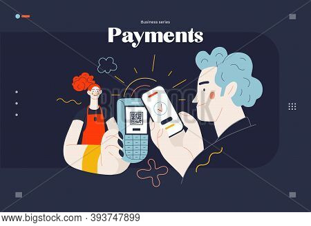 Business Topics -payment, Web Template, Header. Flat Style Modern Outlined Vector Concept Illustrati