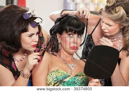 Woman With Bad Haircut And Friends