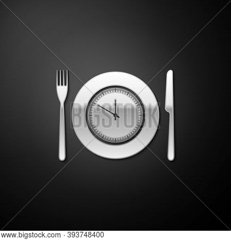 Silver Plate With Clock, Fork And Knife Icon Isolated On Black Background. Lunch Time. Eating, Nutri