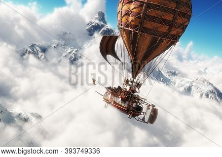 Fantasy Concept Of A Steam Powered Balloon Craft Airship Sailing Through A Sea Of Clouds With Snow C