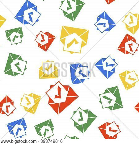 Color Envelope With Document And Check Mark Icon Isolated Seamless Pattern On White Background. Succ