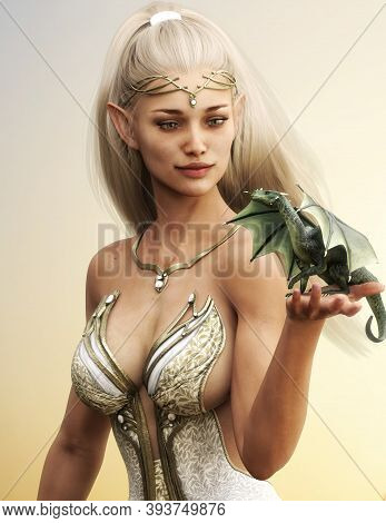 Portrait Of A Fantasy Wood Elf Female With Long Golden Flowing Hair And Her Mythical Green Dragon .3