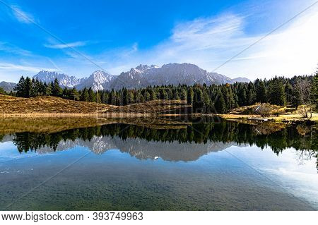 Wildsee Near Mittenwald, With A View Of The Karwendel Mountains