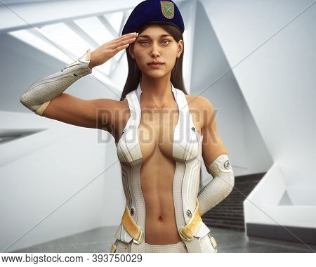 Motivational Portrait Of A Pin Up Sci Fi Futuristic Military Female Saluting . 3d Rendering