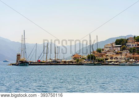 Port Of Marmaris At Noon. The Parking Of Boats And Yachts. Panorama Of The City.